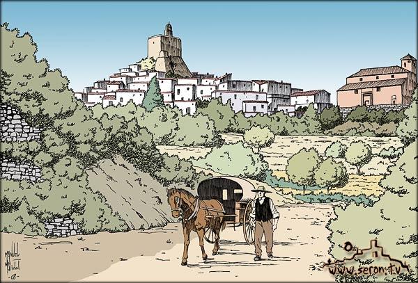 Dibujo castillo S XIX Serón