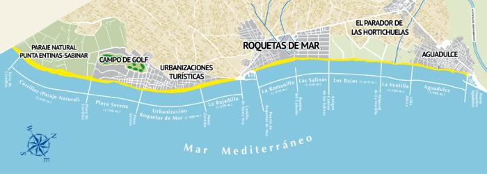 Mapa playas ayuntamiento de  Roquetas de Mar